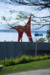 "Perhaps the most iconic of Olympic Sculpture Park's pieces is Alexander Calder's, ""Eagle, 1971"", seen here from near the main Paccar Pavilion and looking west toward Puget Sound and the Olympic Mtns. beyond.   SAM's Olympic Sculpture Park, Seattle, WA."