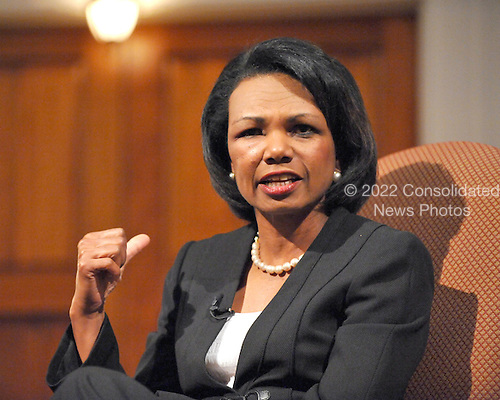 Washington, DC - May 3, 2009 -- Former United States Secretary of State Condoleezza Rice speaks to supporters of the the Jewish Primary Day School (JPDS) of the Nation's Capital in Washington, D.C. on Sunday, May 3, 2009 at the 6th and I Historic Synagogue..Credit: Ron Sachs / CNP