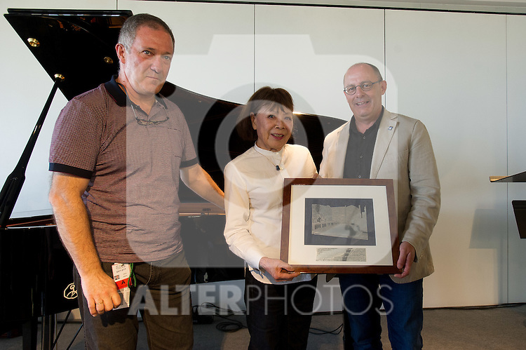"The japanese pianist Toshiko Akiyoshi receives the ""Donostiako  Jazzaldia"" Award and offers a piano concert in the Basque Culinary Center during the 49th Heineken Jazzaldia in San Sebastian to July 25 of 2014. In the image Miguel Martin (L) (Director of the Festival), Toshiko Akiyoshi (C) and Juan Carlos lzagirre (R) (Mayor of San Sebastian)"