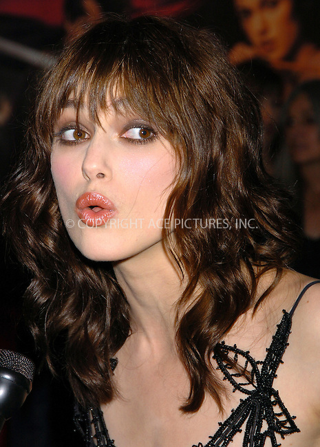Actress Keira Knightley attending the premiere of 'King Arthur' in New York, June 28, 2004. Please byline: AJ SOKALNER/ACE Pictures.   .. *** ***..All Celebrity Entertainment, Inc:  ..contact: Alecsey Boldeskul (646) 267-6913 ..Philip Vaughan (646) 769-0430..e-mail: info@nyphotopress.com