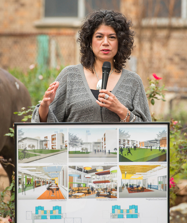 Carol Alvarado comments during a groundbreaking ceremony at Milby High School, December 18, 2014.
