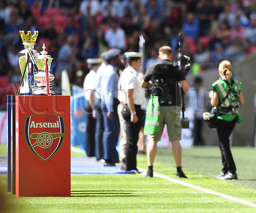 August 6th 2017, Wembley Stadium, London, England; FA Community Shield Final; Arsenal versus Chelsea; pre-kick off formalities with trophies in foreground