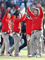 Ohio State Head Coach Urban Meyer celebrates the Buckeyes win over Michigan at the end of the game at Michigan Stadium in Ann Arbor, Michigan on November 30, 2013.  (Chris Russell/Dispatch Photo)