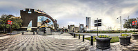 Carolina Panthers' Bank of America Stadium, near downtown buildings, 360 degree panoramic view, near downtown, Charlotte, NC, December  2015.  (photo by Brian Cleary/www.bcpix.com)