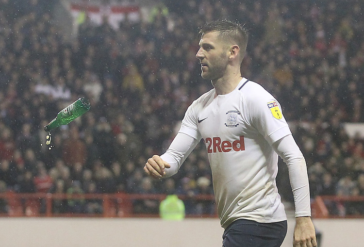 Preston North End's Paul Gallagher throws back a boottle<br /> <br /> Photographer Mick Walker/CameraSport<br /> <br /> The EFL Sky Bet Championship - Nottingham Forest v Preston North End - Saturday 8th December 2018 - The City Ground - Nottingham<br /> <br /> World Copyright © 2018 CameraSport. All rights reserved. 43 Linden Ave. Countesthorpe. Leicester. England. LE8 5PG - Tel: +44 (0) 116 277 4147 - admin@camerasport.com - www.camerasport.com