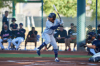 AZL Padres 1 Yordi Francisco (5) at bat during an Arizona League game against the AZL Indians Red on June 23, 2019 at the Cleveland Indians Training Complex in Goodyear, Arizona. AZL Indians Red defeated the AZL Padres 1 3-2. (Zachary Lucy/Four Seam Images)