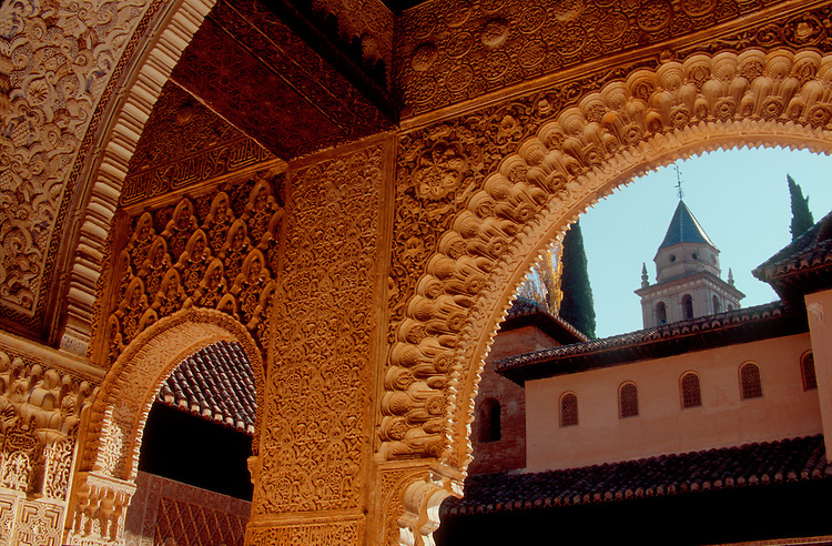 Spain, The Alhambra, Grenada, Moorish architecture, Andalucia, Spain..