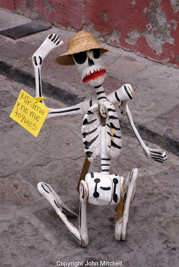 Skeleton outside a handicrafys store in San Miguel de Allende, Mexico
