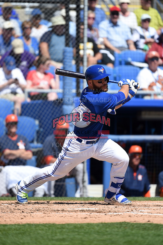 Toronto Blue Jays catcher Russell Martin (55) during a Spring Training game against the Houston Astros on March 9, 2015 at Florida Auto Exchange Stadium in Dunedin, Florida.  Houston defeated Toronto 1-0.  (Mike Janes/Four Seam Images)