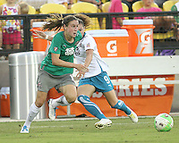 Heather O'Reilly #10 of Abby's XI gets away from Ramona Bachmann #9 of Marta's XI during the WPS All-Star game at KSU Stadium in Kennesaw, Georgia on June 30 2010. Marta XI won 5-2.