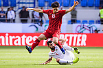 Nguyen Cong Phuong of Vietnam (top) fights for the ball with Baha' Abdelrahman of Jordan (bottom) during the AFC Asian Cup UAE 2019 Round of 16 match between Jordan (JOR) and Vietnam (VIE) at Al Maktoum Stadium on 20 January 2019 in Dubai, United Arab Emirates. Photo by Marcio Rodrigo Machado / Power Sport Images