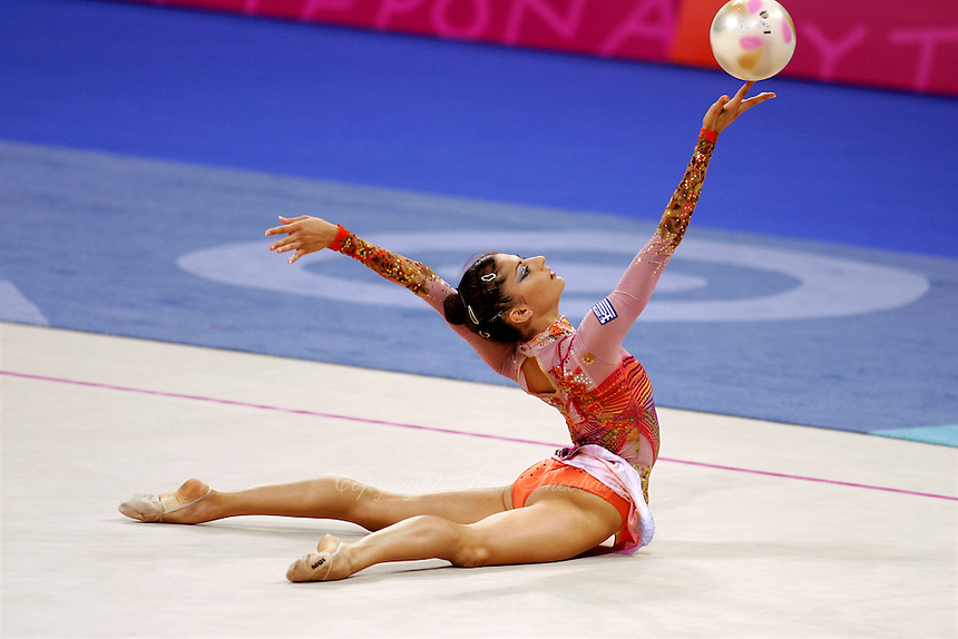 Eleni Andriola of Greece handling with ball during All-Around final at Athens Olympic Games on August 29, 2004 at Athens, Greece. (Photo by Tom Theobald)