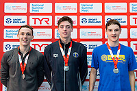 Picture by Allan McKenzie/SWpix.com - 05/08/2017 - Swimming - Swim England National Summer Meet 2017 - Ponds Forge International Sports Centre, Sheffield, England - Ciaran Beard-Jones, Daniel Savage, Mark Edmundson Broughton take silver in the Mens 18yrs and over, 17yrs and 16yrs 100m Backstroke finals respectively.