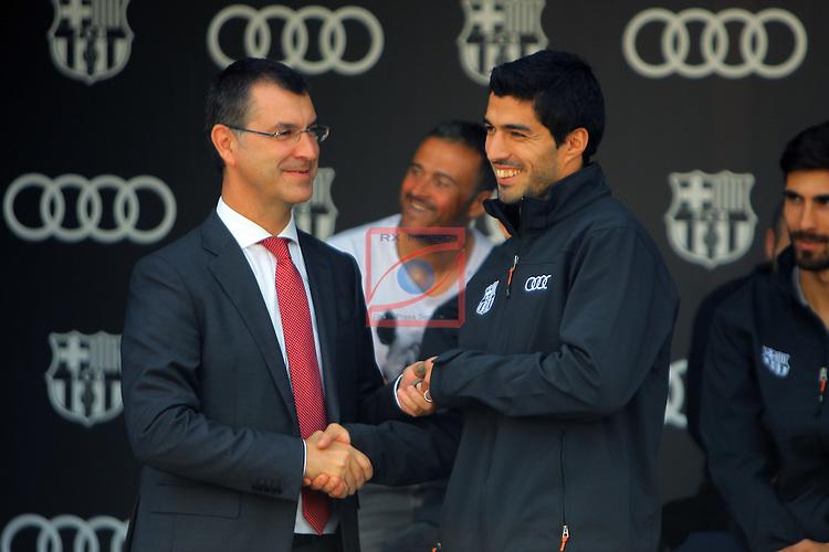 AUDI Premium Partner del FC Barcelona.<br /> Guillermo Fadda &amp; Luis Suarez.