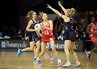 30.08.2017 England's Helen Housby in action during the Quad Series netball match between the Silver Ferns and England at the Trusts Arena in Auckland. Mandatory Photo Credit ©Michael Bradley.