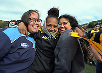 Fans at the 2017 Hurricanes Secondary Schools Under-15 Girls' Rugby Tournament at Wakefield Park in Wellington, New Zealand on Tuesday, 5 September 2017. Photo: Dave Lintott / lintottphoto.co.nz