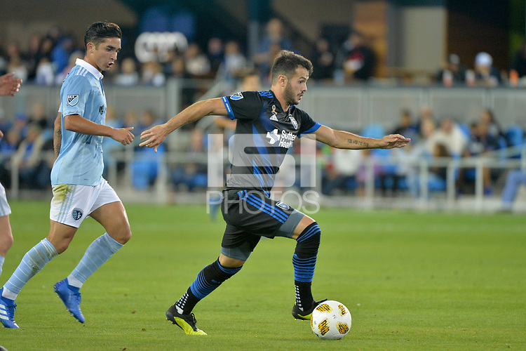 San Jose, CA - Saturday September 15, 2018: Vako during a Major League Soccer (MLS) match between the San Jose Earthquakes and Sporting Kansas City at Avaya Stadium.
