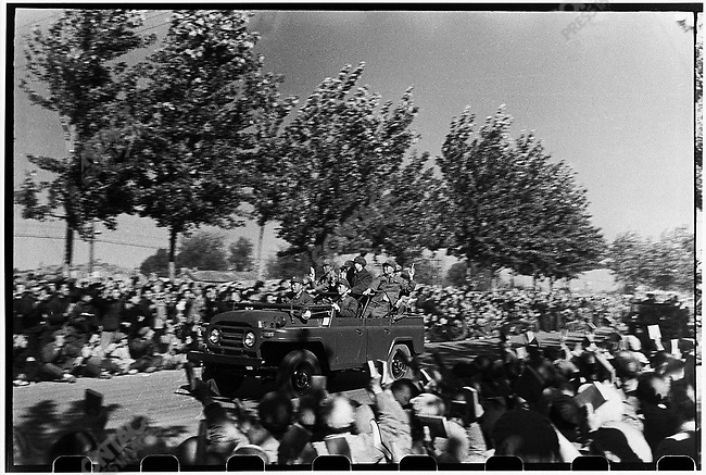 The procession following Mao's jeep carry his would-be successor, Vice-Chairman Marshal Lin Biao, Premier Zhou Enlai, and Mao's wife, Jiang Qing (shown here). Beijing, 18 October 1966