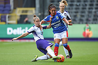 20190813 - ANDERLECHT, BELGIUM : Anderlecht's Laura Deloose (L) and Linfield's Louise McDaniel (R) pictured during the female soccer game between the Belgian RSCA Ladies – Royal Sporting Club Anderlecht Dames  and the Northern Irish Linfield ladies FC , the third and final game for both teams in the Uefa Womens Champions League Qualifying round in group 8 , Tuesday 13 th August 2019 at the Lotto Park Stadium in Anderlecht  , Belgium  .  PHOTO SPORTPIX.BE   DIRK VUYLSTEKE