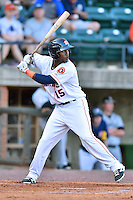 Greeneville Astros right fielder Hector Roa (15) swings at a pitch during a game against the  Pulaski Yankees on July 11, 2015 in Greeneville, Tennessee. The Yankees defeated the Astros 9-3. (Tony Farlow/Four Seam Images)