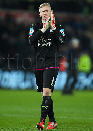 February 12th 2017, Liberty Stadium, Swansea, Wales; Premier league football, Swansea versus Leicester City; Leicester City's Kasper Schmeichel  applauds the fans at the end of the match