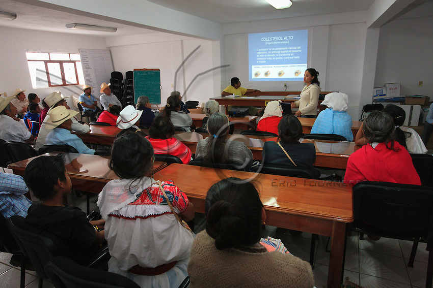 In the Tosepan's meeting room, the younger generation gives nutrition and health classes to their elders, often illiterate.