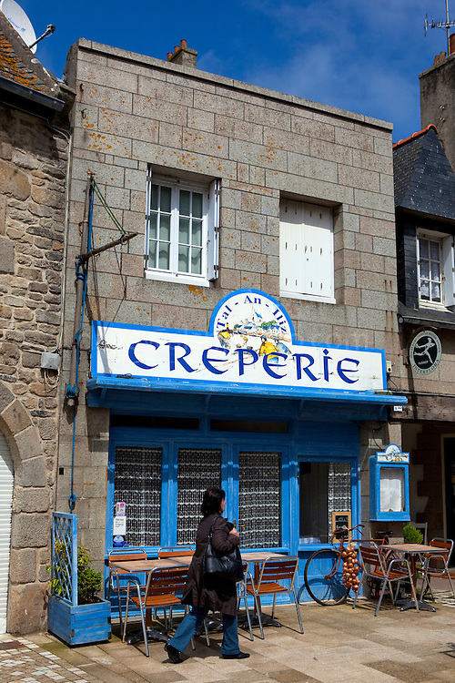 Creperie, serving traditional gallettes and crepes in Roscoff, Brittany, France