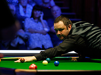 27th February 2020; Waterfront, Southport, Merseyside, England; World Snooker Championship, Coral Players Championship; Stephen Maguire (SCO) keeps an eye on the white ball during his quarter-final match against Mark Selby (ENG)