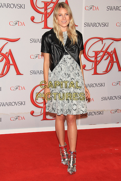 Dree Hemingway.The 2012 CFDA Fashion Awards held at Alice Tully Hall - Lincoln Center, New York, NY, USA..June 4th, 2012 .full length black dress leather jacket print.CAP/LNC/TOM.©LNC/Capital Pictures.