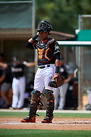 GCL Marlins catcher Luis Arcaya (11) during a game against the GCL Cardinals on August 4, 2018 at Roger Dean Chevrolet Stadium in Jupiter, Florida.  GCL Marlins defeated GCL Cardinals 6-3.  (Mike Janes/Four Seam Images)