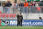 28 April 2007: . Major League Soccer expansion team Toronto FC lost 1-0 to the Kansas City Wizards in the inaugural game at BMO Field in Toronto, Ontario, Canada, the first MLS game played outside of the United States.