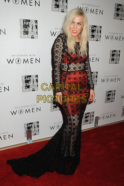 "Natasha Bedingfield.LA Gay & Lesbian Center's ""An Evening With Women"" 2013 held at the Beverly Hilton Hotel, Beverly Hills, California, USA, 18th May 2013..full length black lace red skirt bra see thru through long maxi train sleeve sleeved  dress .CAP/ADM/BP.©Byron Purvis/AdMedia/Capital Pictures"
