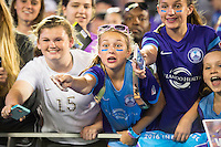 Orlando, Florida - Saturday, April 23, 2016: Orlando Pride fans during an NWSL match between Orlando Pride and Houston Dash at the Orlando Citrus Bowl.