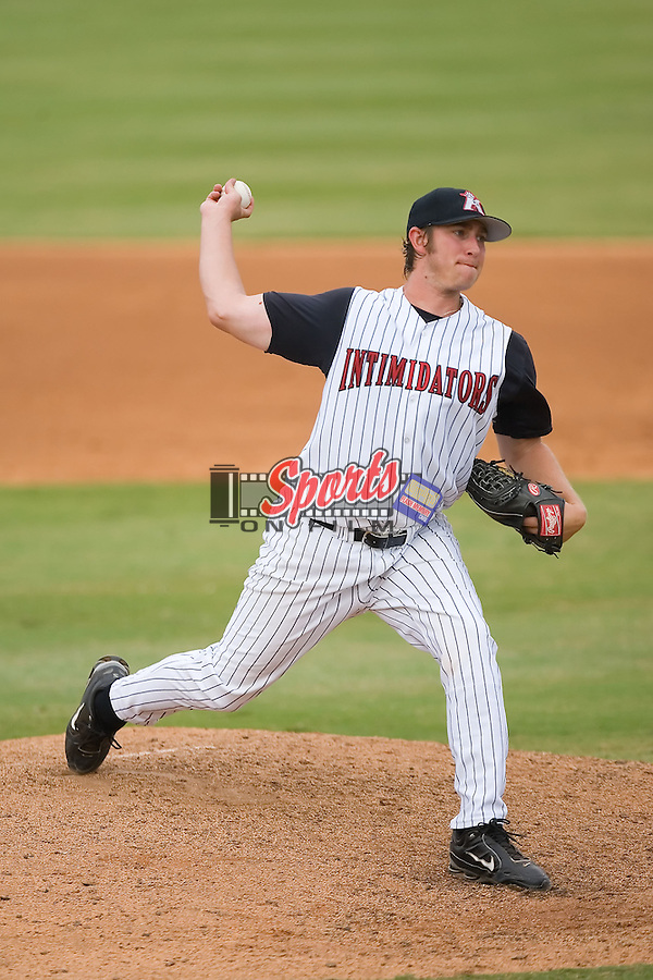 Starting pitcher Levi Maxwell (39) of the Kannapolis Intimidators in action at Fieldcrest Cannon Stadium in Kannapolis, NC, Saturday August 24, 2008. (Photo by Brian Westerholt / Four Seam Images)