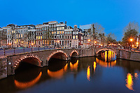 Canals of Amstedam at dusk, Amsterdam, Holland, Netherlands