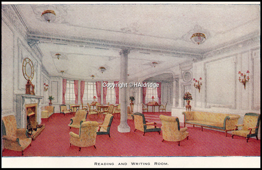 BNPS.co.uk (01202 558833)<br /> Pic: HAldridge/BNPS<br /> <br /> A reading a writing room on the Titanic.<br /> <br /> A rare holiday brochure for the Titanic has surfaced after 106 years.<br /> <br /> The brochure was specifically aimed at rich first and second class passengers and contained colourful images of the most luxurious parts of the doomed liner.<br /> <br /> It walked the reader through different parts of the 'unsinkable' ship, from the opulent reception room, to the Louis XVI period designed restaurant and the promenade deck.<br /> <br /> The sumptuous state rooms that cost the equivalent of £40,000 to stay in, are featured in the fascinating brochure as is the famous grand staircase that featured heavily in the 1997 movie starring Kate Winslet.