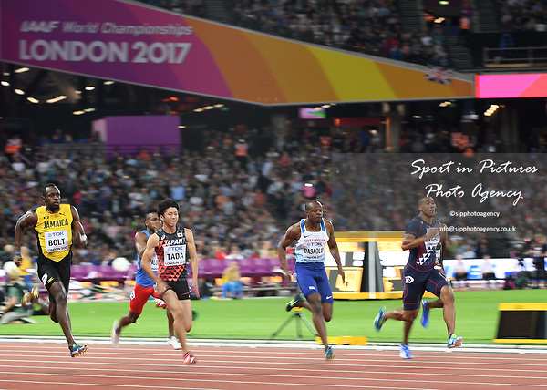Usain Bolt (JAM, left) and James Dasaolu GBR, 2nd right) in the mens 100m heats. IAAF World athletics championships. London Olympic stadium. Queen Elizabeth Olympic park. Stratford. London. UK. 04/08/2017. ~ MANDATORY CREDIT Garry Bowden/SIPPA - NO UNAUTHORISED USE - +44 7837 394578