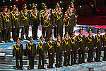 SOCHI, RUSSIA  - JANUARY 7:<br /> Members of the Russian Ministry of Internal Affairs choir perform a rousing rendition of Daft Punk's 'Get Lucky' during the Opening Ceremony of the 2014 Sochi Olympics at Fisht Olympic Stadium Friday February 7, 2014.<br /> (Photo by Chris Detrick/The Salt Lake Tribune)
