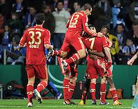 Fussball DFB Pokal:  Saison   2011/2012  Achtelfinale  20.12.2011 VfL Bochum - FC Bayern Muenchen  Mario Gomez, Rafinha, Franck Ribery, David Alaba (v. li., FC Bayern Muenchen)