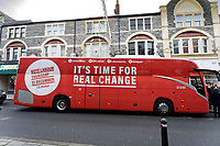 Pictured: The Labour campaign bus in Barry. Saturday 07 December 2019<br /> Re: Labour Party leader Jeremy Corbyn pre-election campaign in Barry, south Wales, UK.