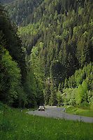 Car driving along winding road in the alpine forest, Imst district, Tyrol, Austria.