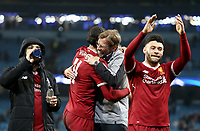 Liverpool manager Jurgen Klopp celebrates with Virgil van Dijk at the final whistle<br /> <br /> Photographer Rich Linley/CameraSport<br /> <br /> UEFA Champions League Quarter-Final Second Leg - Manchester City v Liverpool - Tuesday 10th April 2018 - The Etihad - Manchester<br />  <br /> World Copyright &copy; 2017 CameraSport. All rights reserved. 43 Linden Ave. Countesthorpe. Leicester. England. LE8 5PG - Tel: +44 (0) 116 277 4147 - admin@camerasport.com - www.camerasport.com