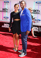 LOS ANGELES, CA, USA - JUNE 29: Basketball Player Chris Paul (R) and wife Jada Crawley (L) arrive at the 2014 BET Awards held at Nokia Theatre L.A. Live on June 29, 2014 in Los Angeles, California, United States. (Photo by Xavier Collin/Celebrity Monitor)