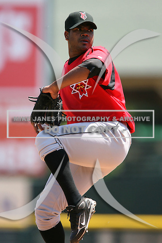 May 13, 2009:  Relief Pitcher Juan Mateo of the Indianapolis Indians, International League Class-AAA affiliate of the Pittsburgh Pirates, delivers a pitch during a game at Frontier Field in Rochester, FL.  Photo by:  Mike Janes/Four Seam Images