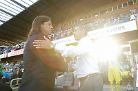 SAN JOSE, CA - AUGUST 03: Matias Almeyda, Caleb Porter  prior to a Major League Soccer (MLS) match between the San Jose Earthquakes and the Columbus Crew on August 03, 2019 at Avaya Stadium in San Jose, California.