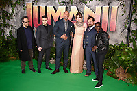director, Jake Kasdan, Nick Jonas, Dwayne Johnson, Karen Gillan, Jack Black and Kevin Hart<br /> arriving for the &quot;Jumanji: Welcome to the Jungle&quot; premiere at the Vue West End, Leicester Square, London<br /> <br /> <br /> &copy;Ash Knotek  D3358  07/12/2017