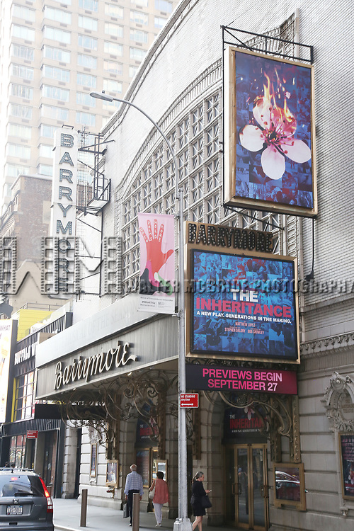 "Theatre Marquee unveiling for Broadway's production of the Matthew Lopez play ""The Inheritance"" at the Barrymore Theatre on July 29, 2019 in New York City."