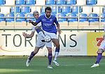 2018-08-01 / voetbal / seizoen 2018 - 2019 / ASV Geel - Patro Eisden Maasmechelen / Christophe Martin-Suarez (r) (Geel) controleert de bal met in zijn rug Jordan Renson (l) (Patro Eisden)