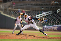 Arkansas Travelers pitcher Wyatt Mills (41) delivers a pitch during a Texas League game between the Northwest Arkansas Naturals and the Arkansas Travelers on May 30, 2019 at Arvest Ballpark in Springdale, Arkansas. (Jason Ivester/Four Seam Images)