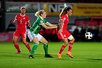 Julie Nelson of Northern Ireland vies for possession with Natasha Harding of Wales during the UEFA Womens Euro Qualifier match between Wales and Northern Ireland at Rodney Parade in Newport, Wales, UK. Tuesday 03, September 2019
